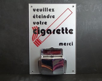 Vintage Ashtray .French wall mount industrial ashtray . Shop Display. Retro