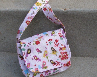 Organic Toddler Messenger in Pink Birds and Raspberry Floral
