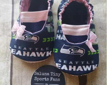 Seattle Seahawks Inspired  Pink Baby Mary Jane Shoes with Bow