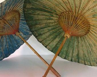 TWO Antique Parasols....Blue and Green...Wedding Decor....Wedding Accessory....Frou Frou...Shabby Chic