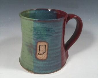 Indiana Beer Stein - handmade ceramic mug- 24 oz -Brick Red Jade Green- Indiana stamp image - Ready to ship - ceramics - pottery - stoneware