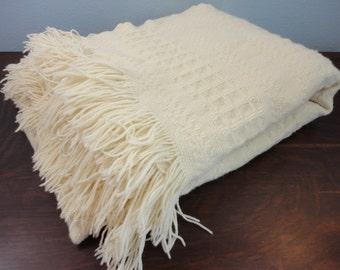 "Vintage Pendleton Virgin Wool Stadium Blanket Throw - Ivory Cream with Fringe - 52"" x 66"""