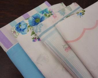 Vintage Set of Mismatched Pillowcases in Light Blue & Purple - Set of 4 Standard Size