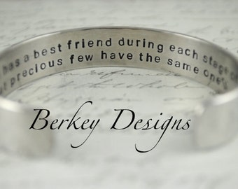 Best Friend Gift / Best Friend Secret Message Hand Stamped Bracelet- Personalized Bracelet