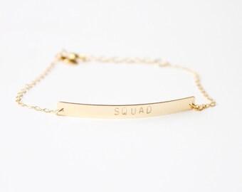 SQUAD - stamped bar bracelet - 14k gold filled