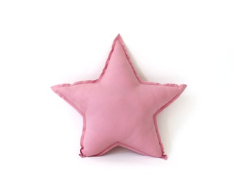 Star Pillow - decorative star shaped pillow in primrose pink, soft cotton