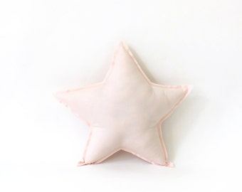 Star shaped Pillow - decorative star pillow in pale pink, soft cotton