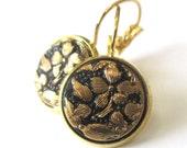 BLACK glass vintage button earrings, gold lever backs