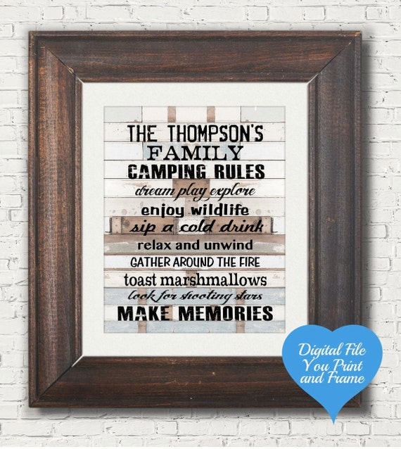 Personalized Camping or Camp Rules Sign Wall by