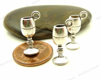 6 Goblet 3D Charms Antique Silver Tone Metal 20x8mm - BA19