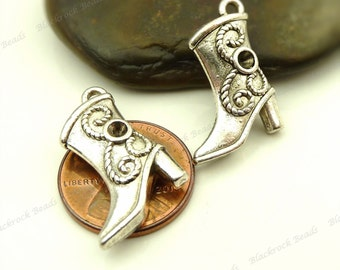 6 Cowgirl Boot Charms ( 3D and Double Sided ) 20x14mm Antique Silver Tone Metal - Very Detailed - BH6