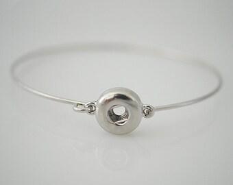 """1 Silver Bangle Bracelet - 7"""" Fits 12MM Candy Snap Charm KB0310 CJ0043"""
