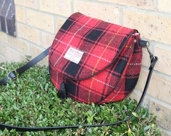 Harris Tweed bag, Tartan bag, Tartan purse, red/black/white MacIver Tartan