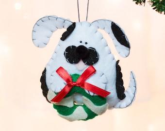 Felt Dog Ornament - White and Black