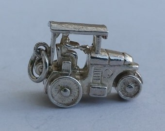 Vintage Steam Roller Charm. Opening, Sterling Silver Road Roller Pendant for Charm Bracelet or Necklace.