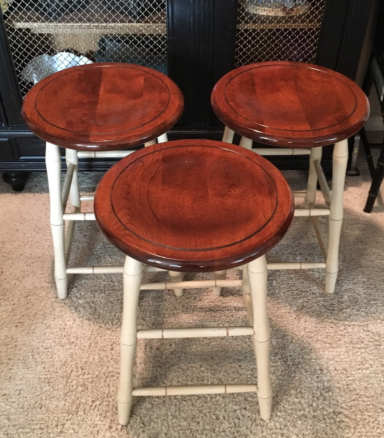 Set Of Three Nichols And Stone Co Faux Bamboo Stools Local