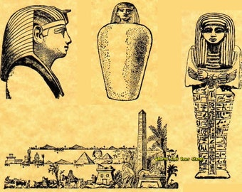 Pharaoh Collection:  4 Ancient Egypt Rubber Stamps