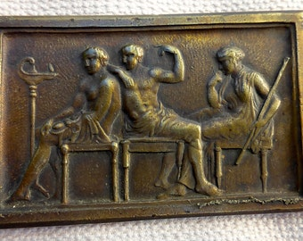 Antique Bronze Wall Plaque dipicting two men and possibly the Goddess Juno