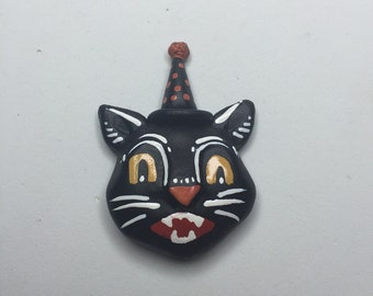 Vintage halloween -black cat brooch
