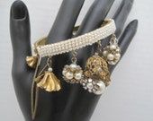 Haskell Style Bracelet - Seed Pearl - Brass Bead - Pearl Rhinestone Dangles - Wired Bangle