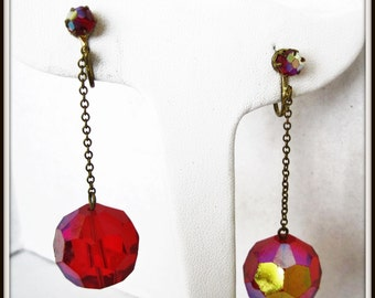 Red Glass Chandelier Earrings - Disco Ball -  Red Prism Dangle Clip Ons