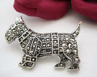 Sterling Marcasite Dog Brooch - Scottie Westie  -Rhinestone Pin