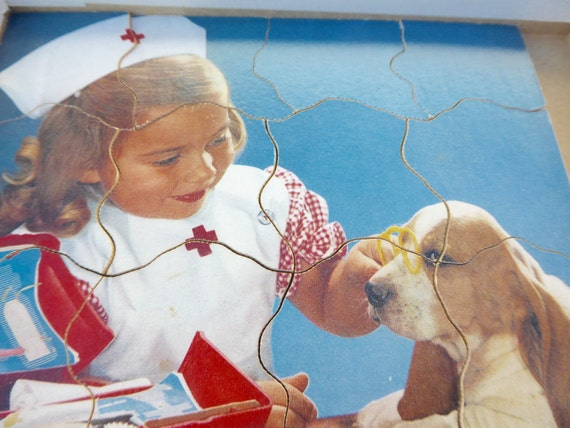 Victory Plywood Jigsaw Puzzle Is That Better? GJ Hayter Boscombe Bournemouth Child Nurse and a Basset Hound Vintage Puzzle Vintage Jigsaw