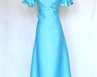 25%OFF SALE 60's Vintage Prom Dress, Aqua BlueDress, Vintage Bridesmaid Dress
