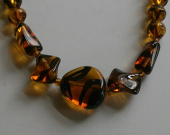 """Twisted Glass Tiger Stripe Bead Necklace Flat Polished and Twisted Glass Long Strand 36"""" Long"""