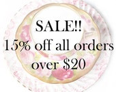 Sale: 15% off all orders over US 20 dollars excluding shipping costs Coupon Code, FIFTEEN