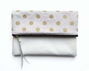 Fold Over Clutch, Gold Polka Dot Canvas Clutch, White Leather Envelope Bag, iPad cover, Handmade Gifts For Women
