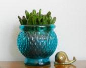 Vintage Planter Turquoise Blue Glass Small Succulent Planter Pot Rustic Coastal Chic Decor