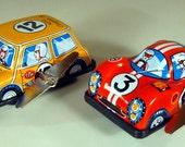 "Vintage Tin Mini Cooper ""S"" Rally (orange) and Ferrari Racing Car U-Turn W/U Toys from Japan, NOS"