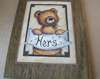 Bear Towel HERS Bath Bathroom Wood Wall Decor Sign