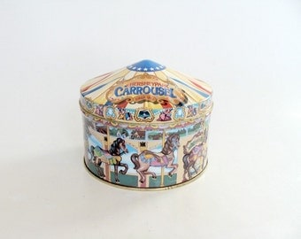 Advertising Candy Tin Box Hershey's 1996 Hometown Series Canister Tin #13 Hersheypark Carrousel Circa 1919, Kid's Playroom Storage Tin Decor