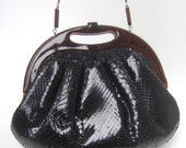 Reserved Sale Pending for Yui Yin Exotic Black Snakeskin Clutch Bag c 1970s