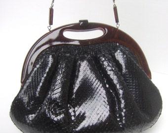 Exotic Black Snakeskin Clutch Bag c 1970s