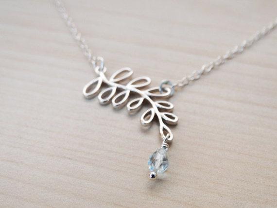 Silver Leaf Necklace & Sky Blue Topaz Drop - Sterling Silver
