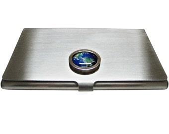 Bordered Earth Pendant Business Card Holder