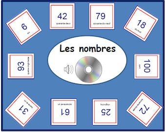 FRENCH NUMBER FLASHCARDS- 1 to 100,Learn Numbers with Pronunciation on Audio File,Teaching Resource,Audio Cards, French Numbers