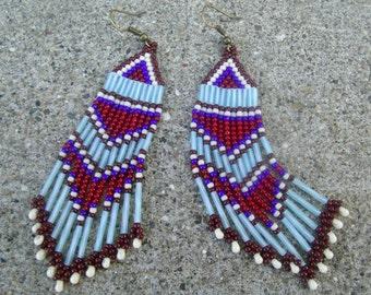 Brick stitch earrings,seed bead and twisted bugle long dangle earrings