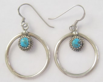 Sterling & Turquoise Native American Artisan Made Hoop Earrings.  Saw Tooth Bezel and Wire Twist Surround Cabochons.  Signed 925 on wires.