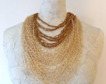 Creme-Brown Colored Silk Thread & Leather Crochet Necklace