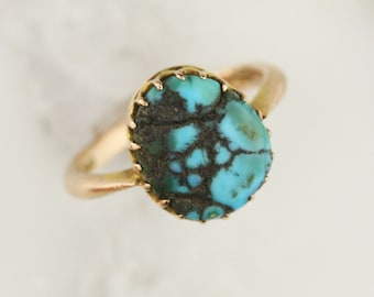Victorian Turquoise Ring Solid 9k Rose Gold - Antique 1867