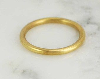 Solid 14k / 18k/ 22k / 24k Gold 2mm Full Round Wedding Band - Stacking Gold Ring - in Yellow, Rose, or White Gold