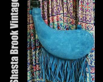 1970s Fringe Blue Suede Leather Water Bladder - Boho Water Pouch - Leather Water Bottle Canteen - Leather Drinking Flask - Camping Festival