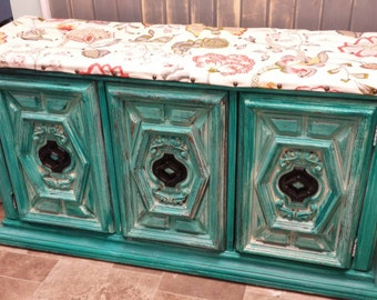 Repurposed Cabinet Window Seat Bench