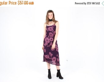 10,000 LIKES 7 Day Sale 90s TOPSHOP Oversized Purple Poppy Print Gauze Floaty Floral Spaghetti Strap Cami / Slip Midi Dress