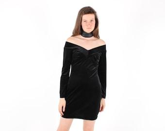 SALE - 80s LISA HO Velvet Off Shoulder Long Sleeve Sexy Bandage / Bodycon Mini Party Dress