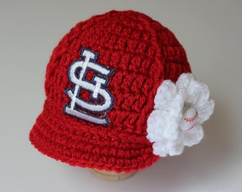 Baby St. Louis Cardinals - Hat - Knitted / Crochet - Baby Girl Gift / Newborn - Photo Photography Prop - Baseball